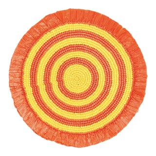 Orange & Yellow Woven Fringe Placemat For Sale