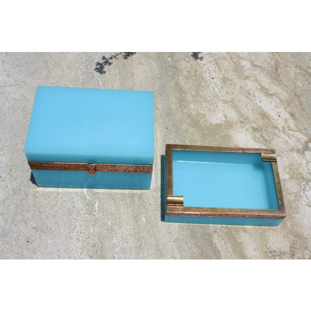 Metal Early 20th Century French Tiffany Blue Opaline Glass Box and Ashtray Set For Sale - Image 7 of 13