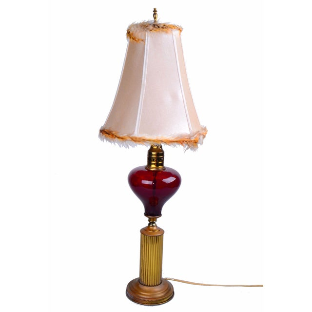 Italian Brass and Glass Table Lamp With Shade For Sale - Image 10 of 10