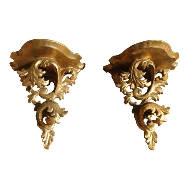 Antique Gold Wall Sconce Shelves - A Pair - Image 1 of 5