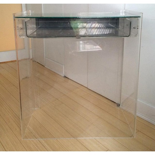 Lucite Mirrored-Drawer Vanity & Stool - A Pair - Image 9 of 13