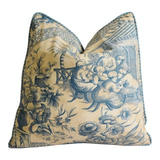 "Robert Allen Turkish Tavern Toile Feather/Down Pillow 20"" Square For Sale"