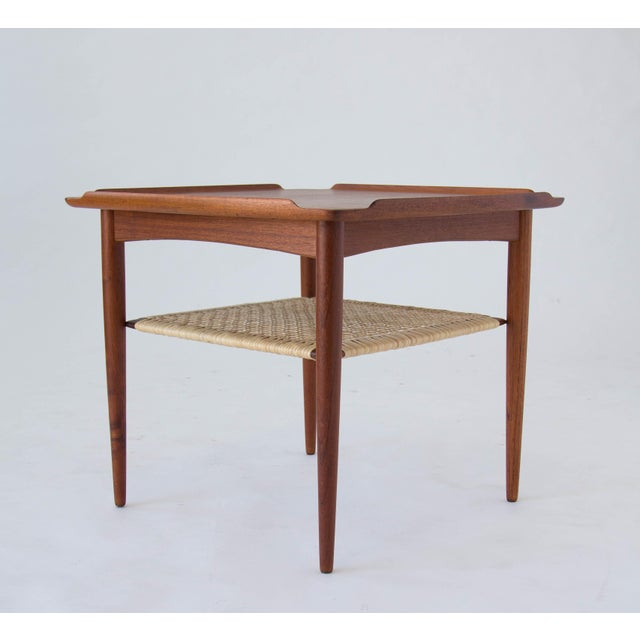 Poul Jensen for Selig Square Side Table With Cane Shelf For Sale In Los Angeles - Image 6 of 8