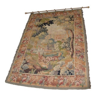 19th Century Antique European Tapestry Depicting a Country Scene With Dogs For Sale