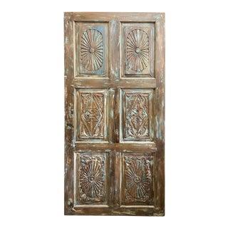 Vintage Indian Rustic Carved Door For Sale