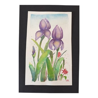 Purple Irises Watercolor Painting For Sale