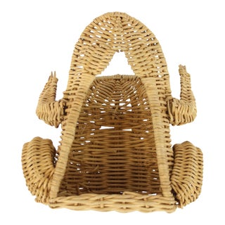 C50s Wicker Frog Garden Tool Basket W/ 6 Implements For Sale