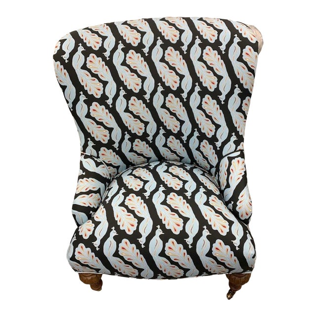 Upholstered Peacock Print Chair For Sale