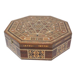 Moorish Inlaid Marquetry Mosaic Octagonal Jewelry Box For Sale