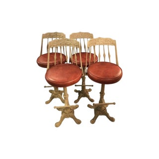 20th Century Traditional Painted Cast Iron Swivel Bar Stools - Set of 4 For Sale