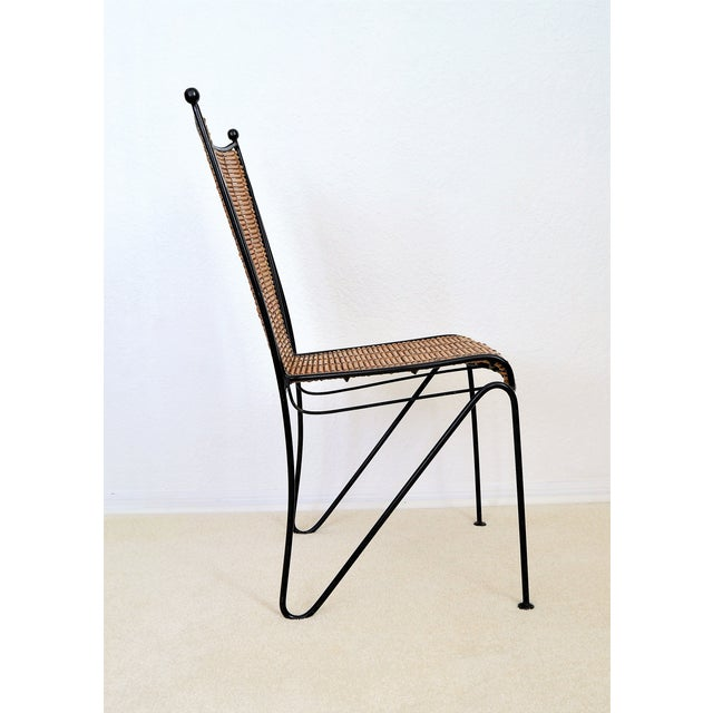 Offering a rare Ficks and Reed Bamboo and wrought iron Mid Century Organic Modern desk chair, circa 1970's. This trendy...