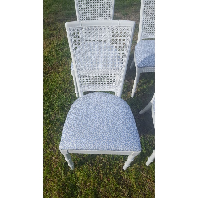 Set of 4- White Palm Beach Regency Faux Bamboo Caned Dining Chairs For Sale - Image 4 of 13