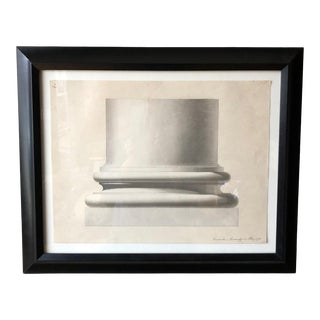 Antique Architectural Pencil Drawing and Watercolor - Column Base For Sale