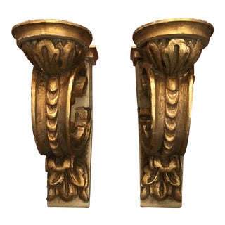 Spanish Baroque Carved Giltwood Wall Brackets - a Pair For Sale