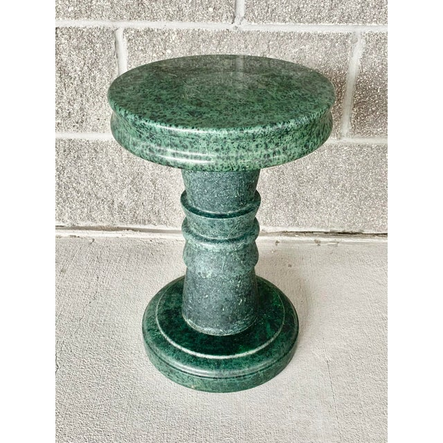 Fabulous vintage green marble side table. Stunning green color. Super heavy. Perfect as a small side table or plant stand....