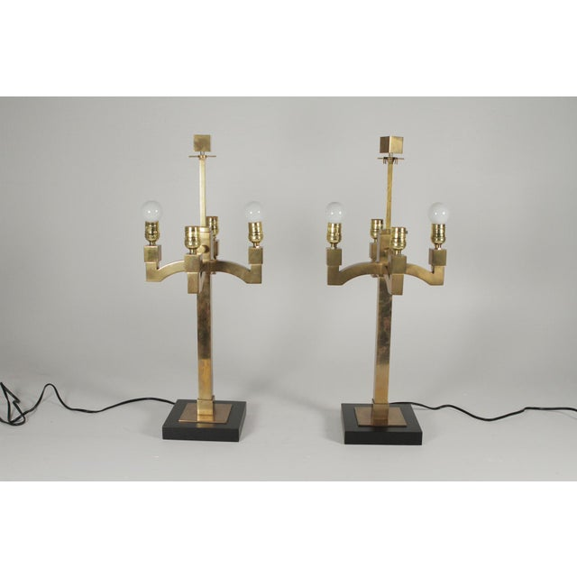 Mid-Century Modern Brass Table Lamps - a Pair For Sale In Philadelphia - Image 6 of 11