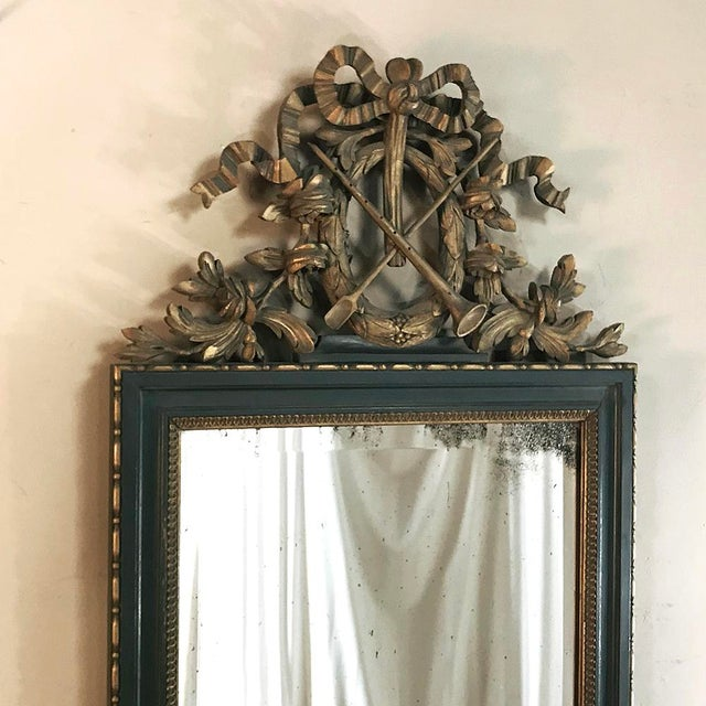 Mid 19th Century 19th Century Italian Carved Wood Painted Marble Top Console With Mirror For Sale - Image 5 of 13