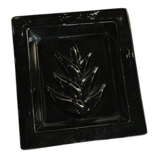 Vintage Black Glass Leaf Dish