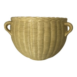 1970s Yellow Ceramic Triple Handle Basketweave Planter For Sale