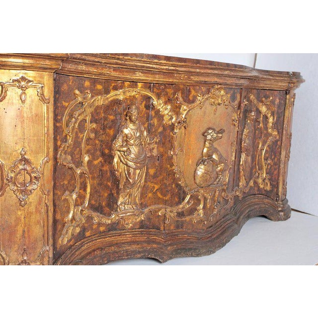 17th Century Venetian Vestiary Gilt Cabinet With Faux Marble Top For Sale - Image 11 of 13