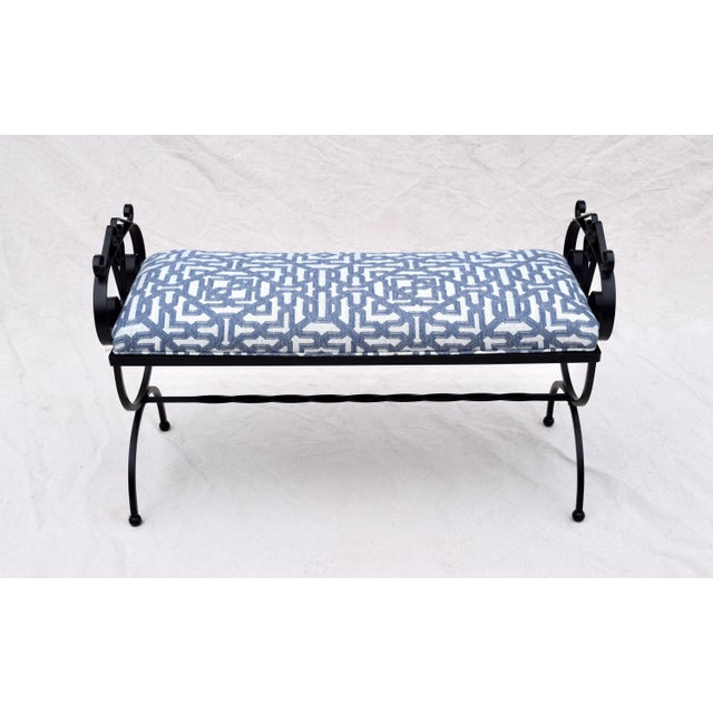 1990s Wrought Iron Curule Base Bench For Sale - Image 5 of 9