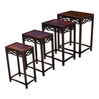 Chinese Ming Hua LI Wood Nesting Tables - Set of 4 For Sale
