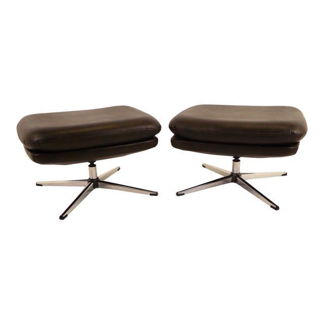Overman Brown Leatherette Foot Stools / Benches - a Pair For Sale