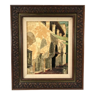 1971 Framed Multimedia Art Architectural Scene With Row of Shops, Signed Bish For Sale
