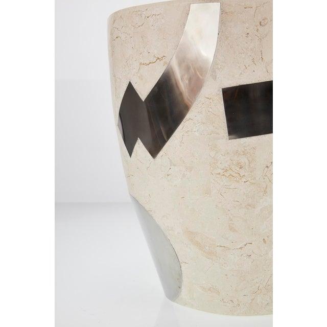 "White 1990s Vintage Medium Postmodern Tessellated Stone ""Et Cetera"" Planter For Sale - Image 8 of 10"