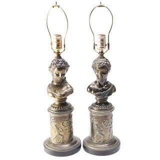 Neoclassical Bronze Lamps Italian Greek Figural Busts - a Pair of 2