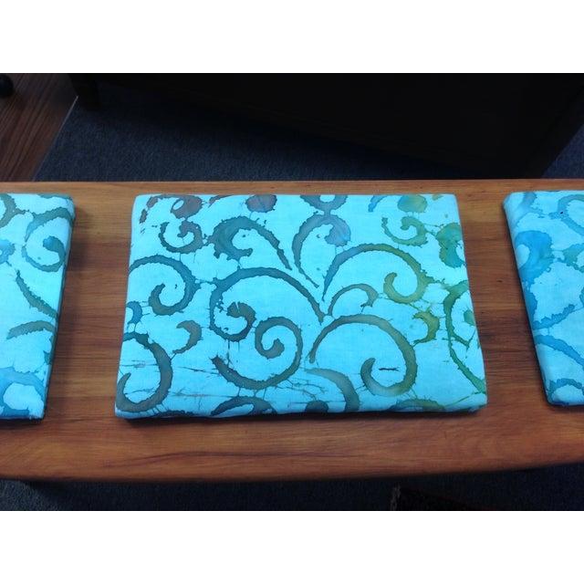 Teak and Batik Three Seater Bench - Image 5 of 6