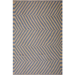 Contemporary Schillin Ivory/Lt. Blue Hand-Woven Kilim Wool Rug - 8'3 X 10'2 For Sale