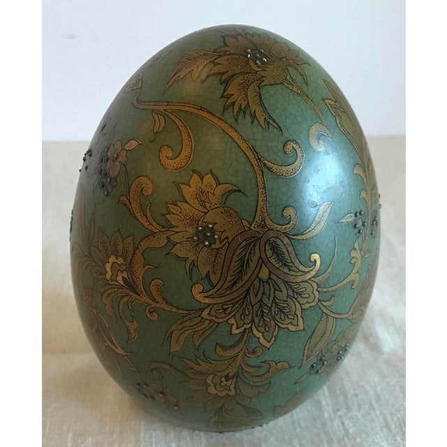 Traditional Green & Gold Egg With Floral Raised Details For Sale - Image 3 of 9