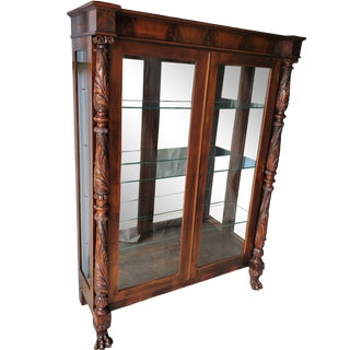 19th Century French Empire Flame Mahogany Display Cabinet For Sale