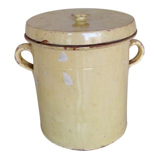 19th Century French Country Rustic Yellow Grease Pot For Sale
