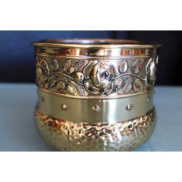 Small English Brass Repoussé Cachepot - Image 4 of 7