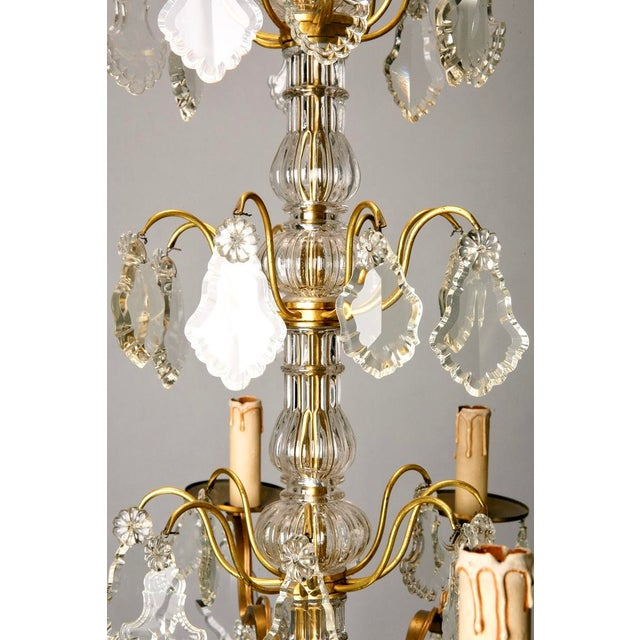 French Eight Light Brass, Glass & Crystal Chandelier, C.1920 - Image 7 of 9