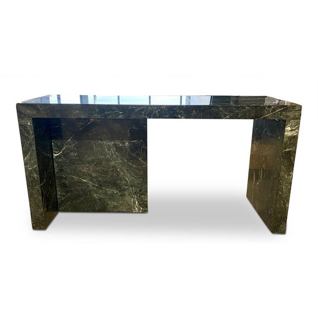 1970s 1970s Italian Green Marble Desk With Return For Sale - Image 5 of 6