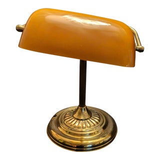 Vintage Classic Amber Glass Brass Bankers Light Table Lamp