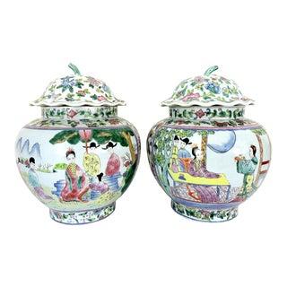 Antique Chinese Figural & Landscape Famille Rose Porcelain Ginger Jars With Fluted Lids - a Pair For Sale