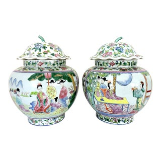 Antique Chinese Figural Famille Rose Porcelain Ginger Jars With Fluted Lids - a Pair For Sale