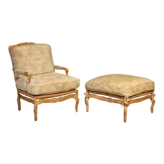 Nancy Corzine Bergere Chair & Ottoman - A Pair