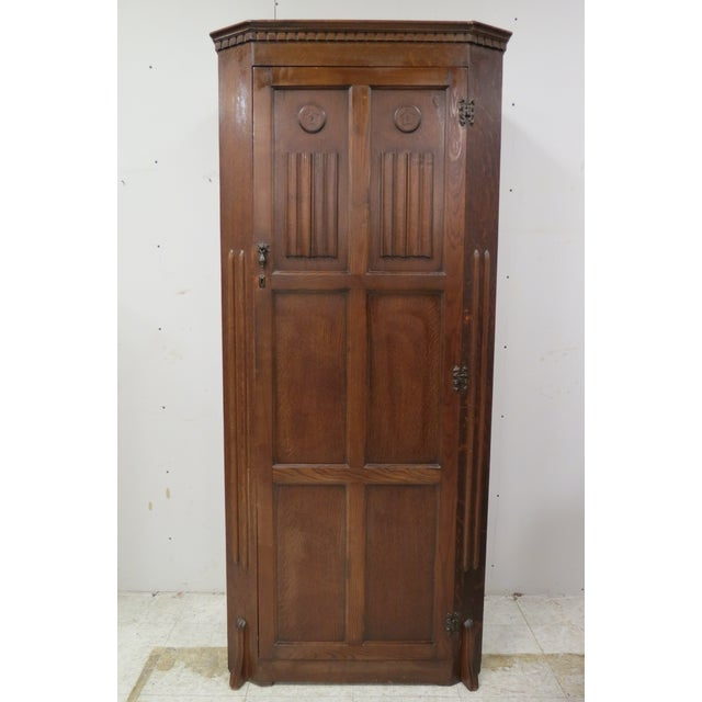 English Tiger Oak Linen Fold Wardrobe With Interior Mirror For Sale - Image 13 of 13