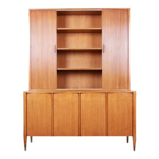 Sligh Mid-Century Modern Walnut Sideboard Credenza With Bookcase Hutch For Sale