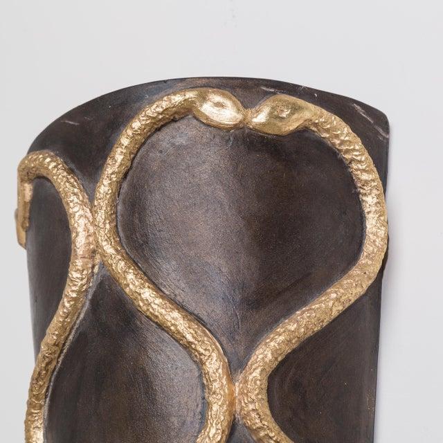 A Set of Four Ceramic and Gilt Snake Designed Sconces, 1950s For Sale - Image 4 of 5