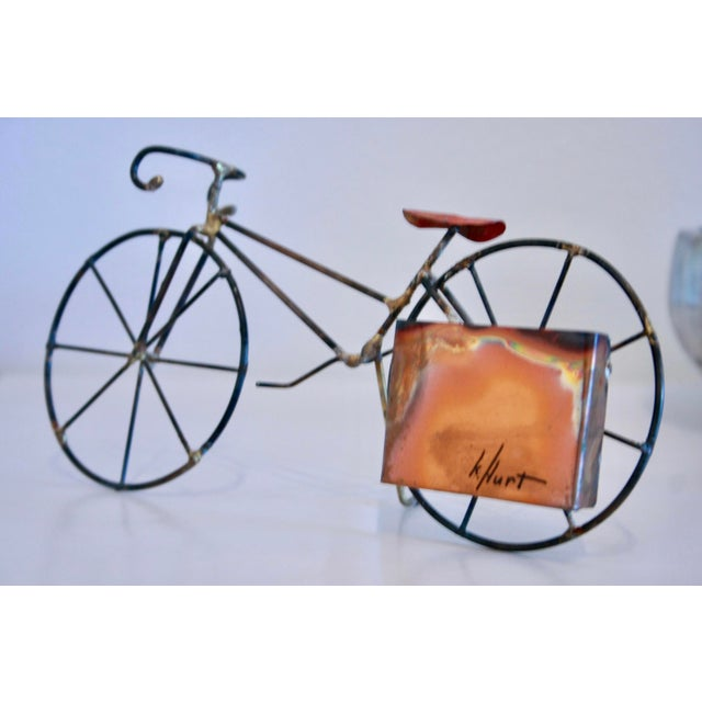 Brutalist Copper & Brass Bicycle Sculpture - Image 5 of 9