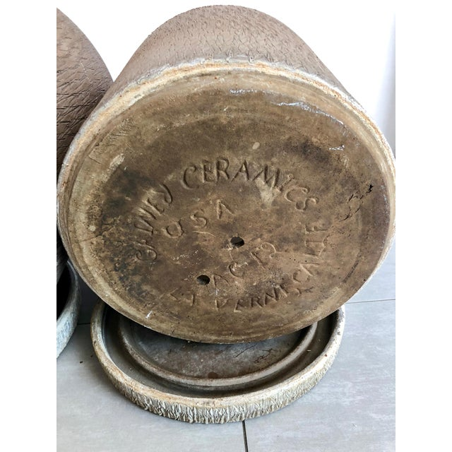 Brown Gainey Sgraffito Pots - Set of 3 For Sale - Image 8 of 13
