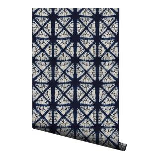 Japanese Indigo Diamond Pre-Pasted Wallpaper - 2 Piece Set For Sale