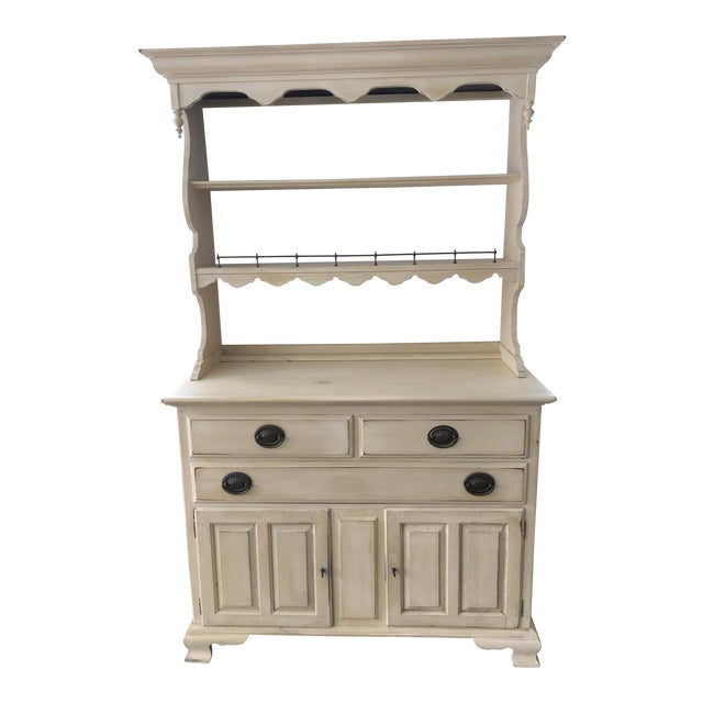 Ethan Allen Yellow Hardwood Hutch For Sale