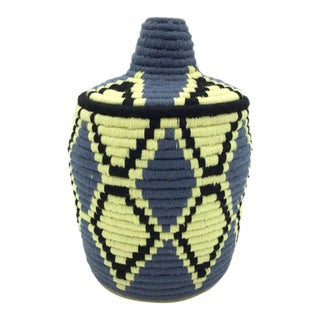 Blue & Pale Yellow Basket For Sale